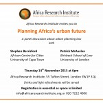 EVENT: Planning Africa's urban future