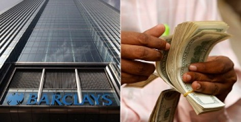 Collage: Barclays bank and money counting