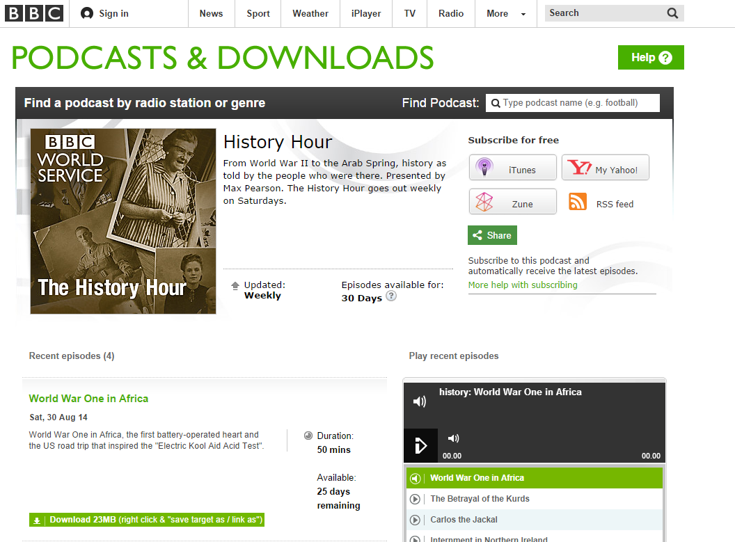 Edward Paice on BBC World Service History Hour