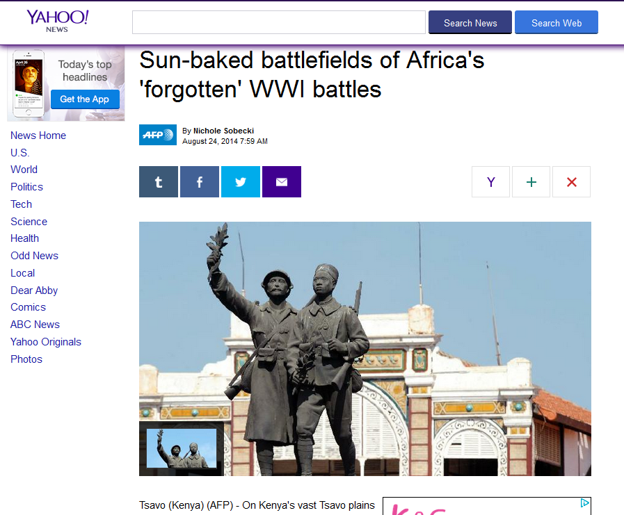 "Nichole Sobecki references the Africa Research Institute in her piece ""Sun-baked battlefields of Africa's 'forgotten' WWI battles"" (AFP 24.08.2014)"