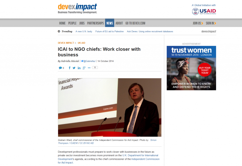 Africa Research Institute's event with ICAI chief commissioner Graham Ward discussed in Gabriella Jóźwiak piece for Devex