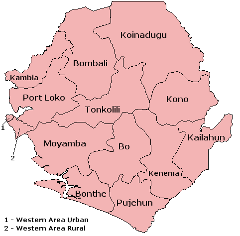 Districts of Sierra Leone; Wikipedia, CC BY-SA 3.0,