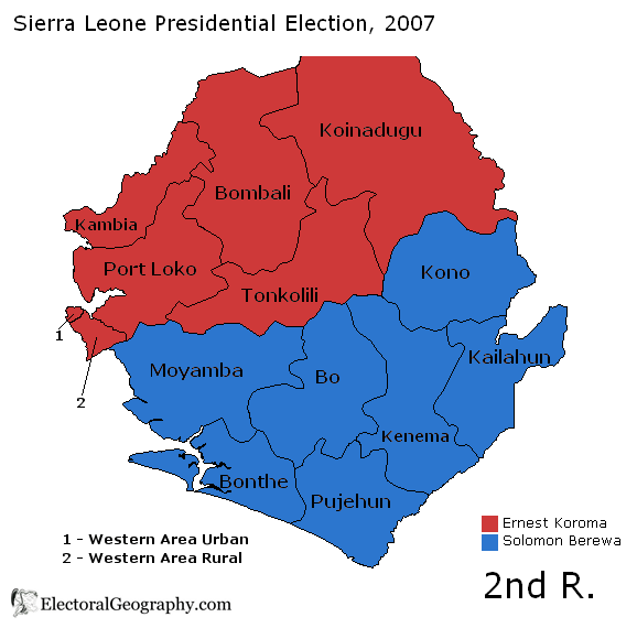 Sierra Leone Presidential Election 2007; ElectoralGeography.com