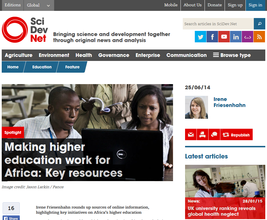 SciDev features Africa Research Institute