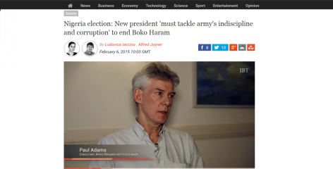 Africa Research Institute's Paul Adams interviewd about Nigeria's politics on the International Business Times