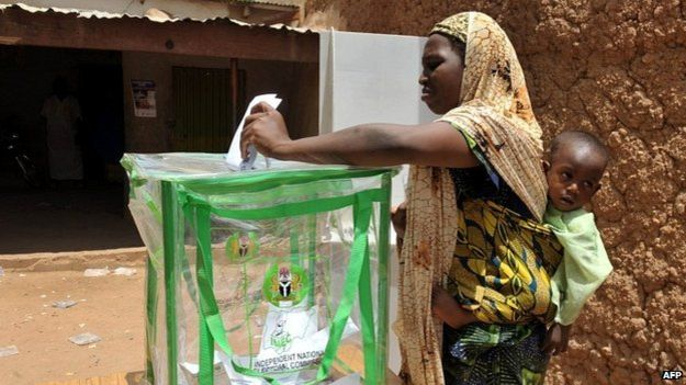 Woman in Lagos voting at Nigeria 2015 elections