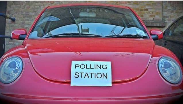 Peculiar polling stations include a cricket pavilion, a launderette, hair salons – and your own car.