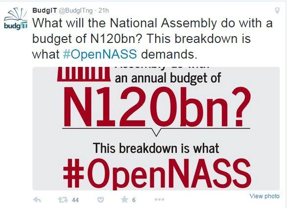 BudgIT #OpenNASS tweet