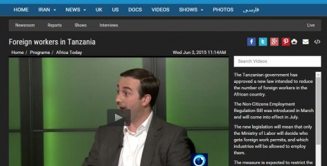 Press TV's Africa Today interviewed Africa Research Institute's senior researcher, Nick Branson, on their programme about foreign workers in Tanzania