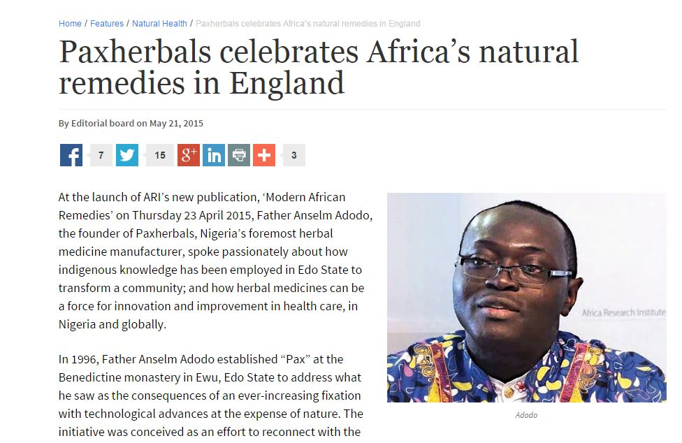 "The Guardian features Anselm Adodo, founder of Paxherbals, who we collaborated with on our latest Policy Voice publication ""Modern African Remedies: Herbal medicine and community development in Nigeria"""