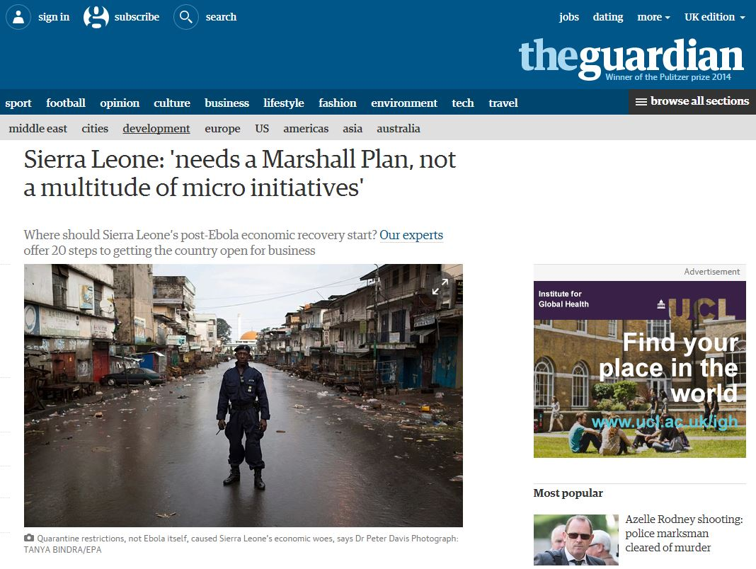 ARI's Jamie Hitchen participated in a live Q&A for The Guardian on the economic recovery in Sierra Leone post-Ebola