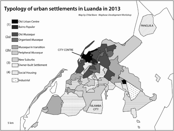 Typology of urban settlements in Luanda in 2013