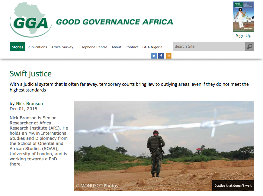Nick Branson Mobile Courts DRC for Good Governance Africa