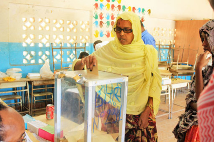 A Djiboutian woman votes at the Stade primary school in the capital city during 2013 legislative elections