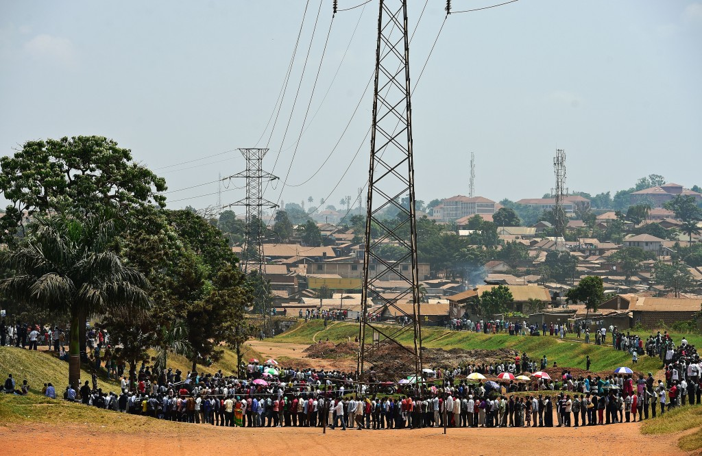 Ugandans wait to cast their ballots in Mukono: Credit Carl De Souza/AFP/Getty Images