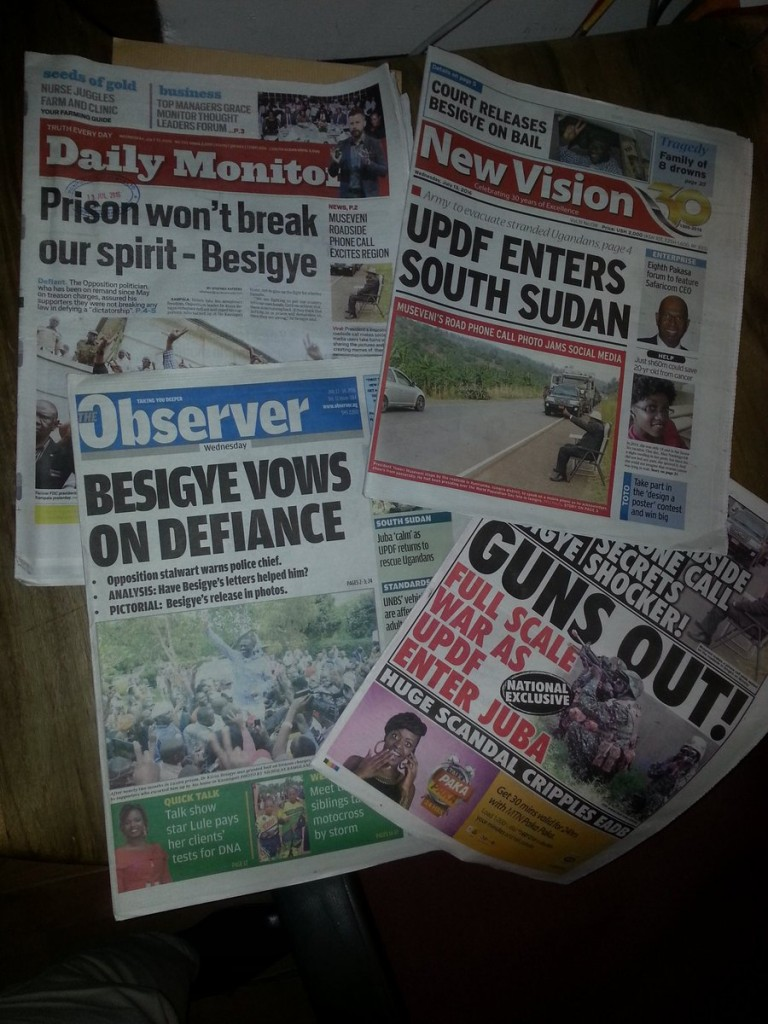 Uganda's leading newspapers react to the events of 12 July 2016