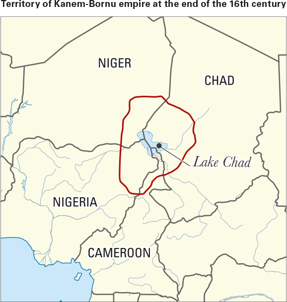 Territory of Kanem-Bornu empire at the end of the 16th century