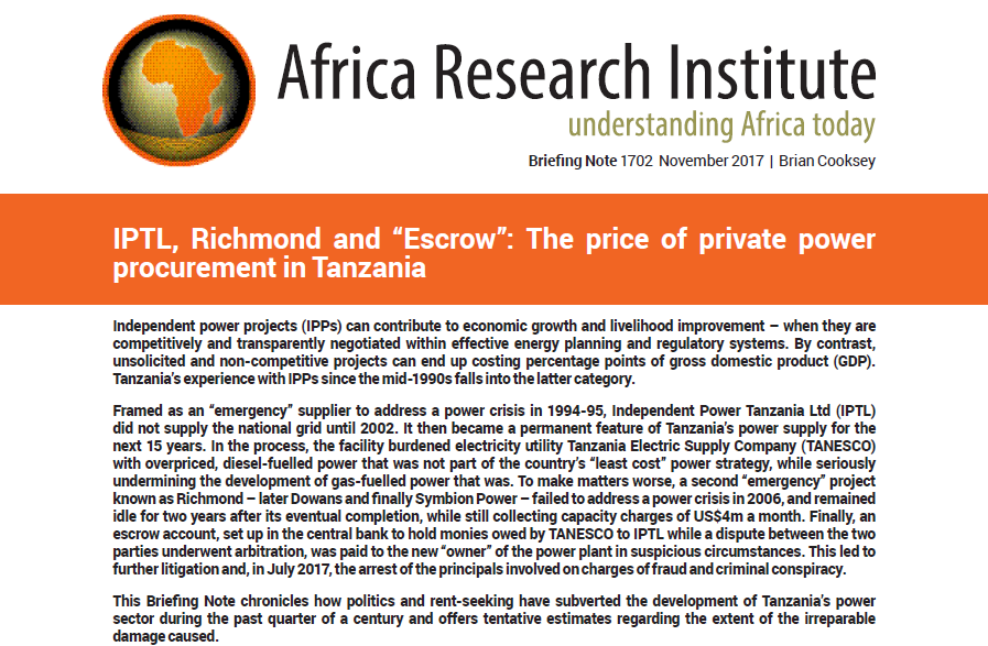 "IPTL, Richmond and ""Escrow"": The price of private power"